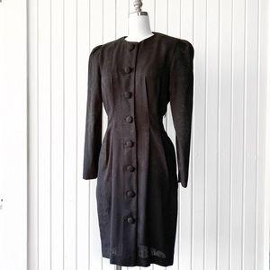 Vintage 90s Black Floral Button Front Career Dress